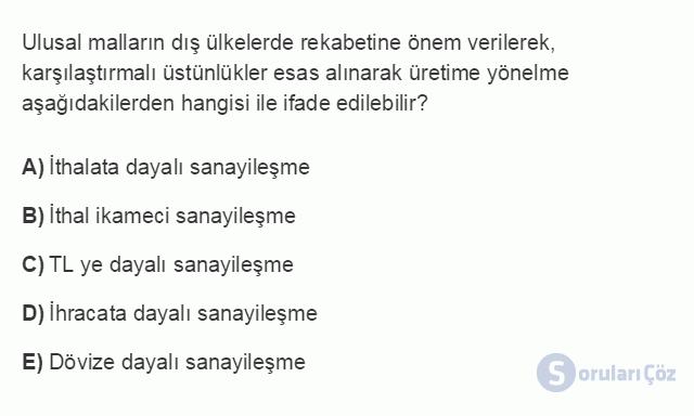 İKT402U 2. Ünite Türkiye'de Milli Gelir, Gelir Dağılımı ve Yoksulluk Testi I 7. Soru