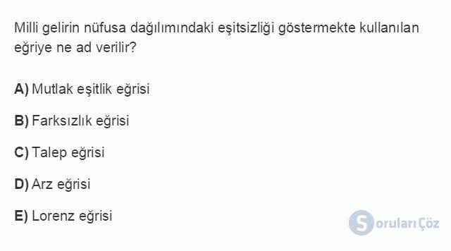 İKT402U 2. Ünite Türkiye'de Milli Gelir, Gelir Dağılımı ve Yoksulluk Testi I 8. Soru