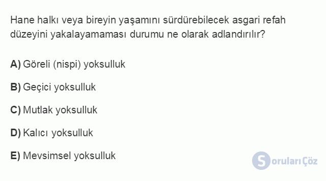 İKT402U 2. Ünite Türkiye'de Milli Gelir, Gelir Dağılımı ve Yoksulluk Testi I 9. Soru