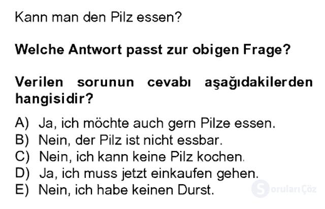 Almanca II Bahar Dönemi Final 2. Soru