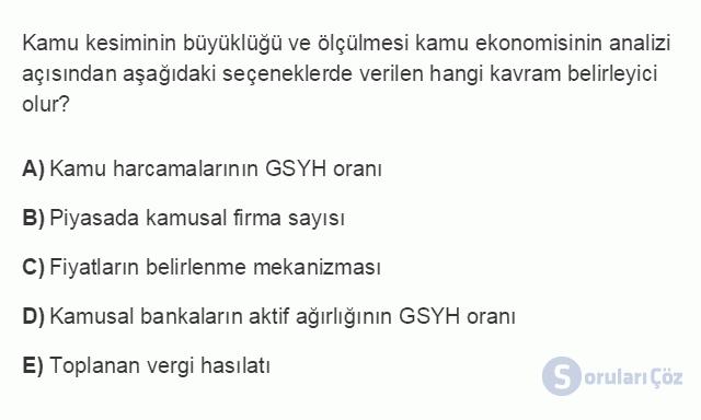 İKT402U 3. Ünite Kamu Ekonomisinde Gelişmeler Testi III 12. Soru