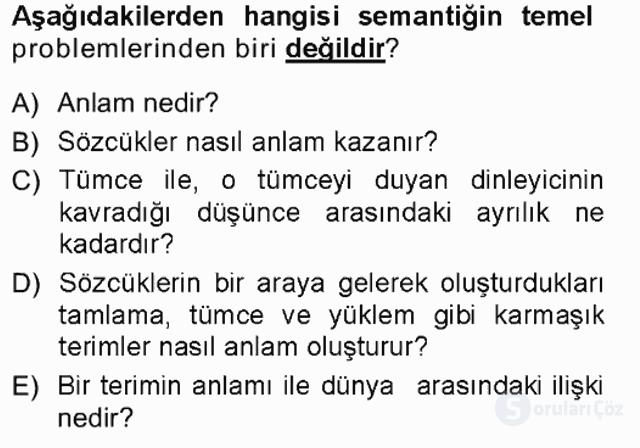 Dil Felsefesi Tek Ders Sınavı 3. Soru