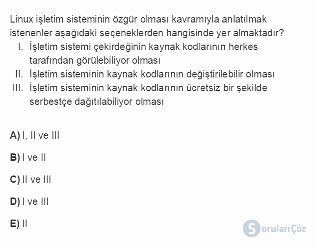 BİL101U 2. Ünite İşletim Sistemleri Testi III 19. Soru