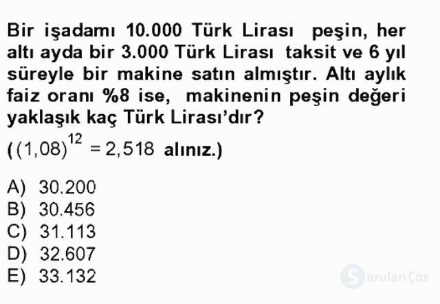 Finans Matematiği Tek Ders Sınavı 12. Soru
