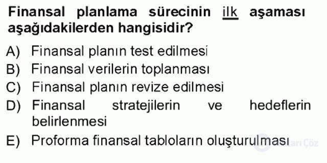 Girişim Finansmanı Tek Ders Sınavı 4. Soru