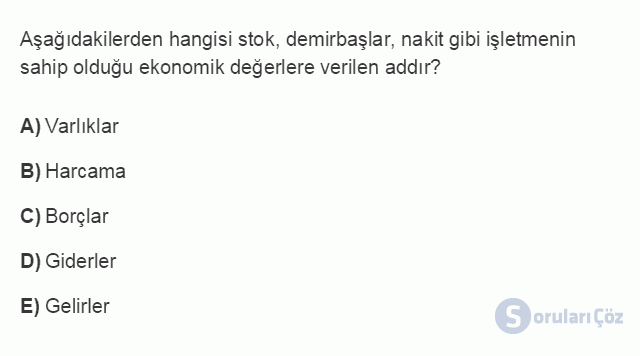 MUH301U 1. Ünite MALİYET MUHASEBESİNE GİRİŞ Testi III 3. Soru