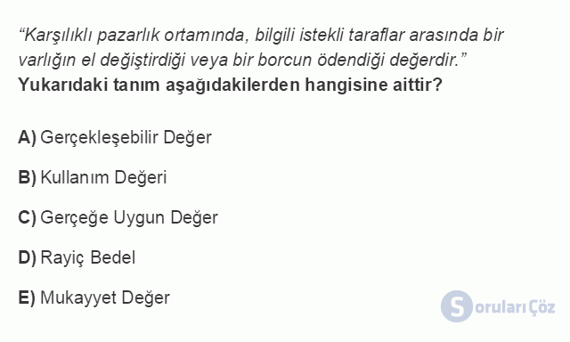 İŞL207U 1. Ünite Dönemsonu İşlemlerinin Kapsamı Testi I 12. Soru