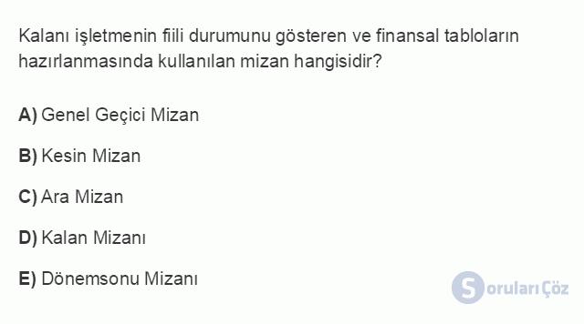 İŞL207U 1. Ünite Dönemsonu İşlemlerinin Kapsamı Testi I 4. Soru