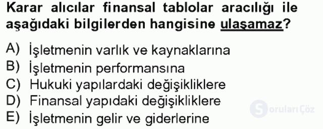 Finansal Tablolar Analizi Tek Ders Sınavı 1. Soru