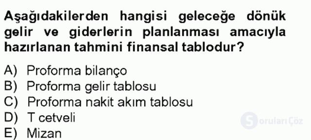 Finansal Tablolar Analizi Tek Ders Sınavı 20. Soru