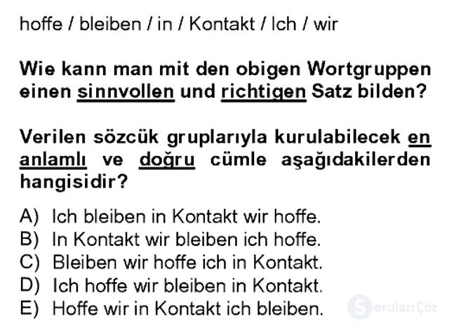 Almanca II Bahar Dönemi Final 10. Soru