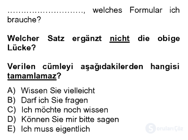 Almanca II Bahar Dönemi Final 13. Soru