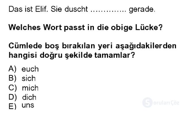 Almanca II Bahar Dönemi Final 3. Soru