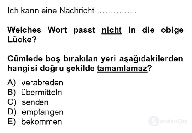Almanca II Bahar Dönemi Final 7. Soru