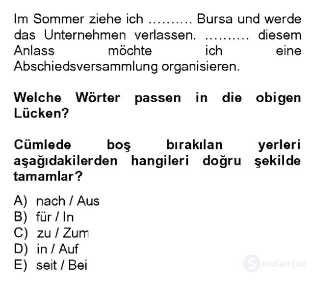 Almanca II Bahar Dönemi Final 9. Soru