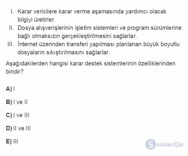 BİL102U 3. Ünite Özel Uygulama Yazılımları Testi II 19. Soru
