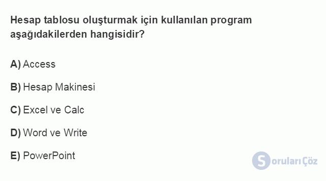 BİL101U 4. Ünite Ofis Yazılımları - Hesap Tablosu Programları Testi II 20. Soru