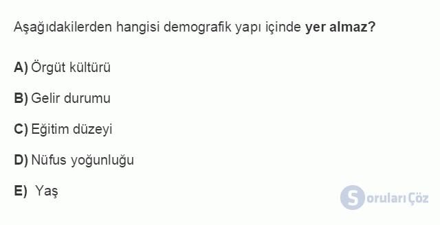İŞL107U 2. Ünite İşletme Çevresi Testi I 14. Soru