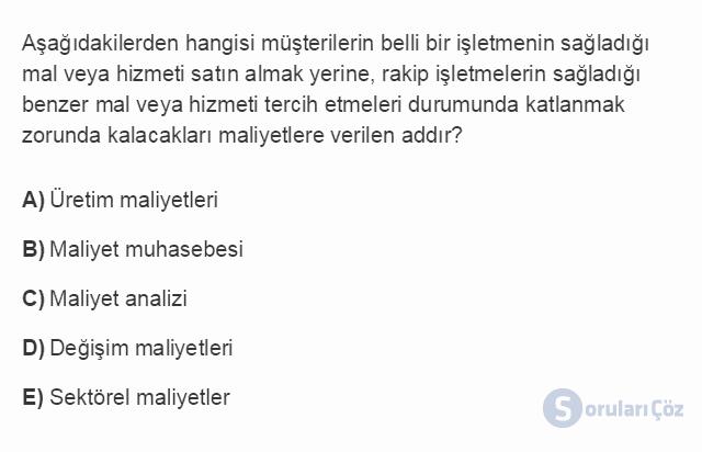 İŞL107U 2. Ünite İşletme Çevresi Testi I 16. Soru