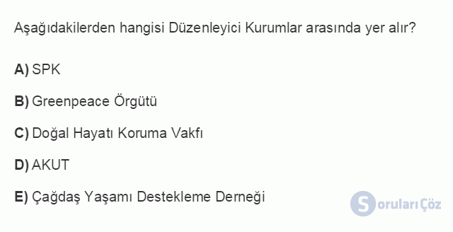 İŞL107U 2. Ünite İşletme Çevresi Testi I 17. Soru
