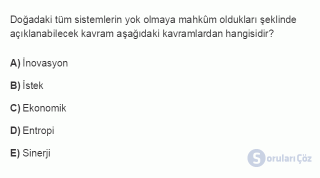 İŞL107U 2. Ünite İşletme Çevresi Testi I 5. Soru