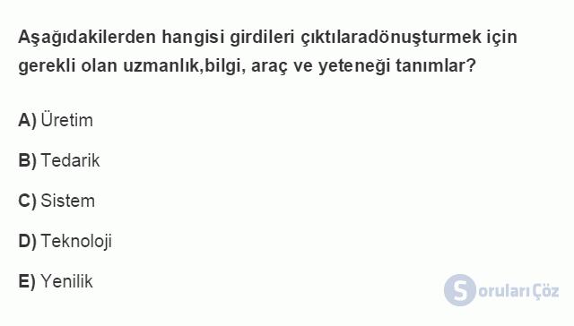 İŞL107U 2. Ünite İşletme Çevresi Testi II 15. Soru