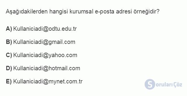 BİL101U 6. Ünite E-Posta - Kişisel İletişim Yönetimi Testi I 16. Soru