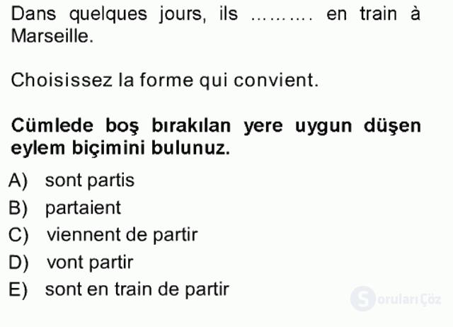 Fransızca I Tek Ders Sınavı 1. Soru