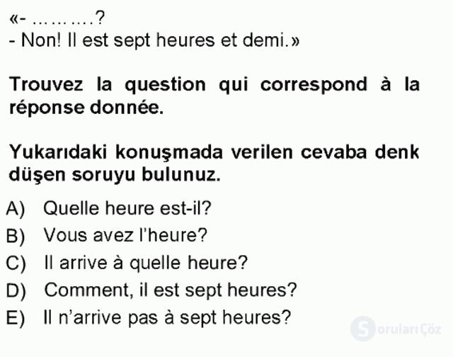 Fransızca I Tek Ders Sınavı 12. Soru