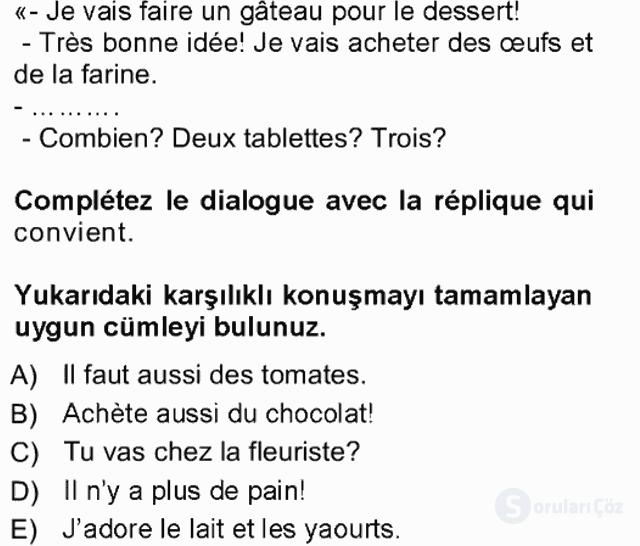 Fransızca I Tek Ders Sınavı 15. Soru