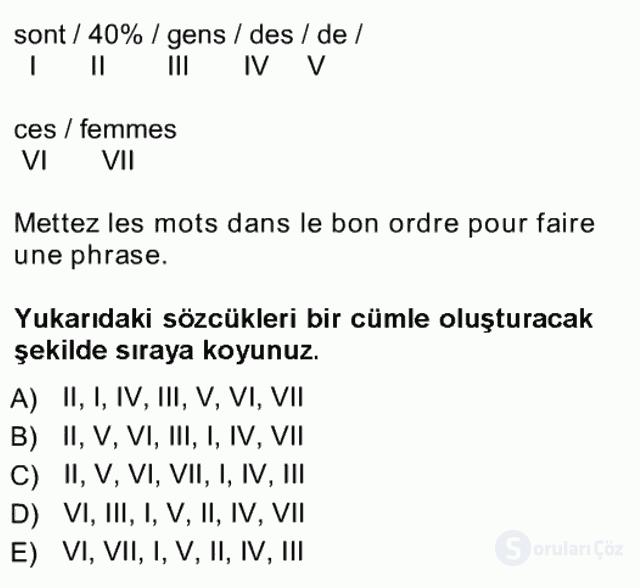 Fransızca I Tek Ders Sınavı 16. Soru