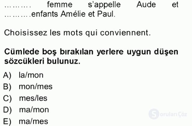 Fransızca I Tek Ders Sınavı 17. Soru