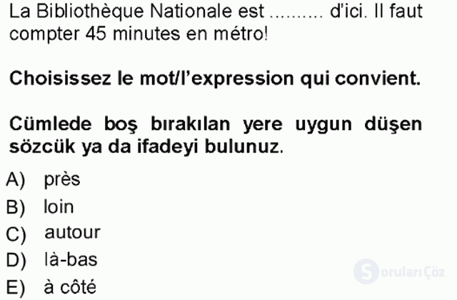 Fransızca I Tek Ders Sınavı 19. Soru