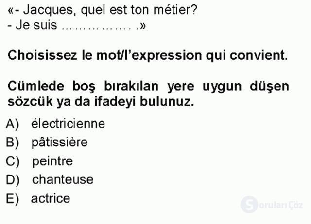 Fransızca I Tek Ders Sınavı 2. Soru