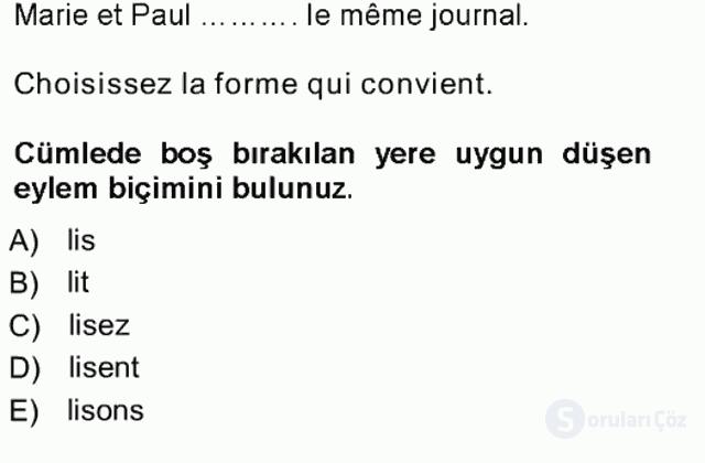 Fransızca I Tek Ders Sınavı 20. Soru