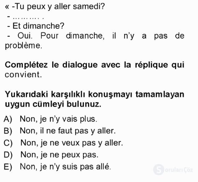 Fransızca I Tek Ders Sınavı 3. Soru