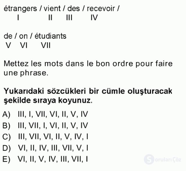Fransızca I Tek Ders Sınavı 4. Soru