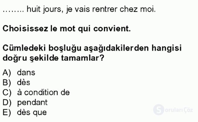 Turizm İçin Fransızca I Tek Ders Sınavı 14. Soru