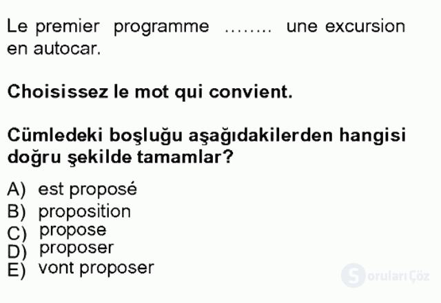 Turizm İçin Fransızca I Tek Ders Sınavı 17. Soru