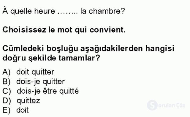 Turizm İçin Fransızca I Tek Ders Sınavı 7. Soru