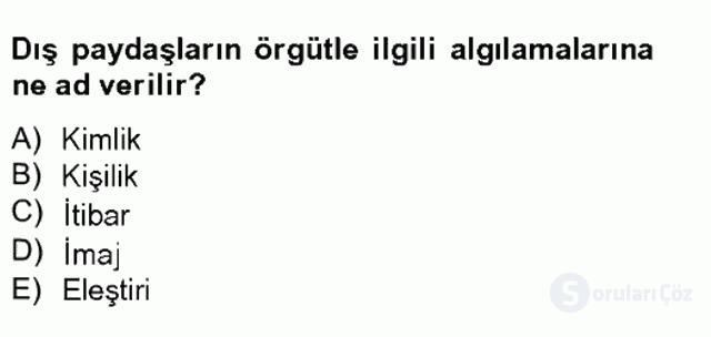 Halkla İlişkiler Tek Ders Sınavı 15. Soru