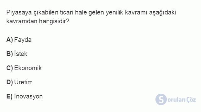 İŞL107U 1. Ünite İşletmeler ve Özellikleri Testi I 1. Soru
