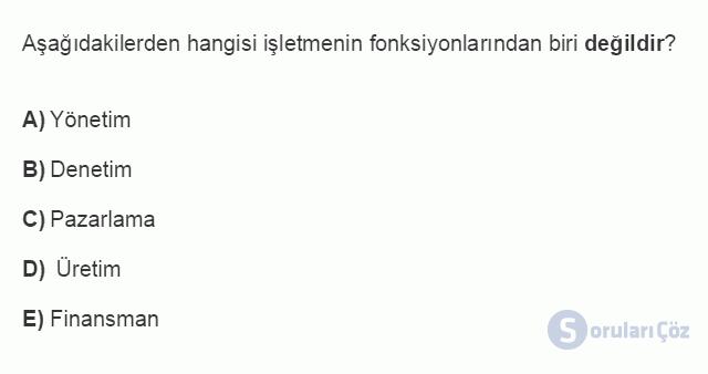 İŞL107U 1. Ünite İşletmeler ve Özellikleri Testi I 14. Soru