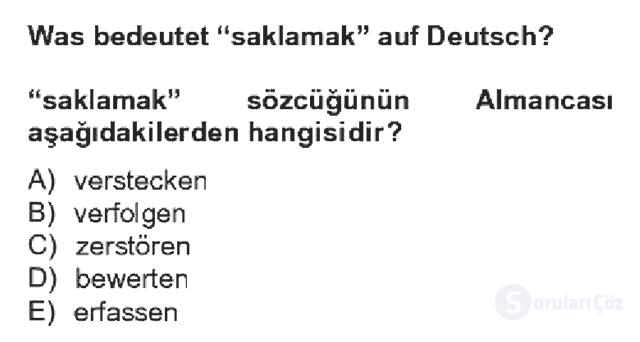 Almanca IV Bahar Dönemi Final 10. Soru