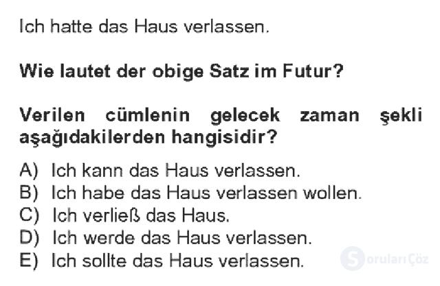 Almanca IV Bahar Dönemi Final 12. Soru