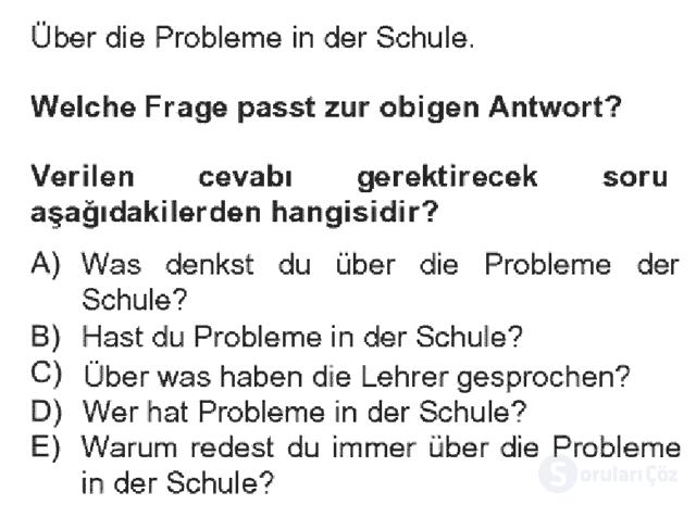 Almanca IV Bahar Dönemi Final 13. Soru