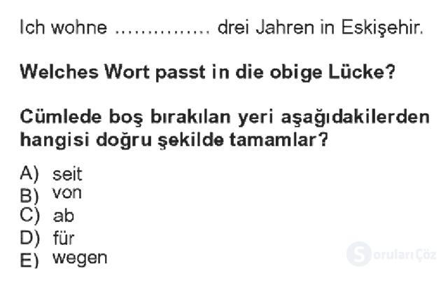 Almanca IV Bahar Dönemi Final 14. Soru