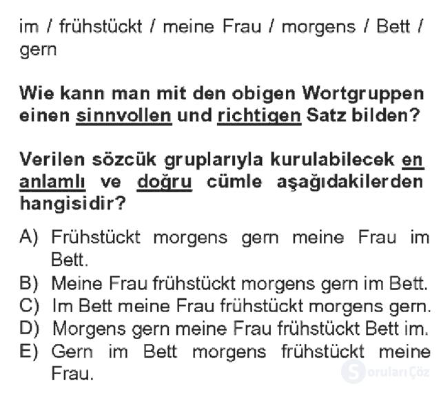 Almanca IV Bahar Dönemi Final 16. Soru