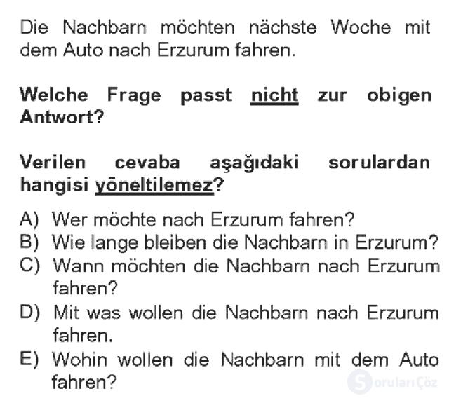 Almanca IV Bahar Dönemi Final 17. Soru