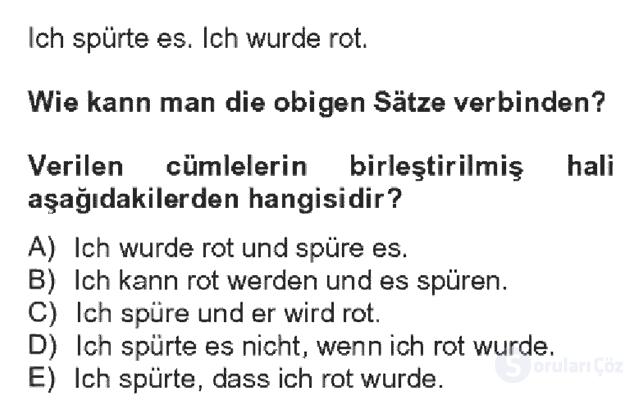 Almanca IV Bahar Dönemi Final 18. Soru